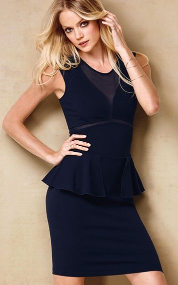 Sexy Fashion Professional Ponte Peplum OL Dress Dark
